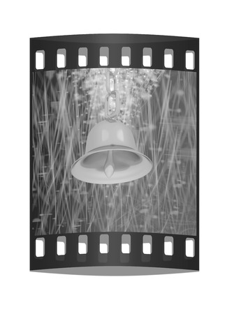lyrical: Gold bell on winter or Christmas style background with a wave of stars. The film strip