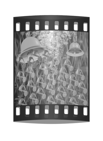 lyrical: Toll. Gold bell on winter or Christmas style background with a wave of stars. The film strip