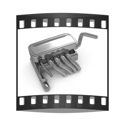 exhaust system: Exhaust system on a white background. The film strip Stock Photo