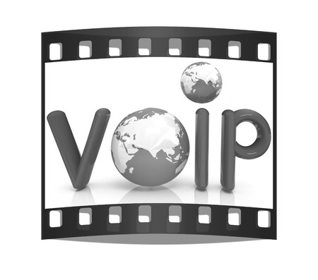 Word VoIP with 3D globeon a white background. The film strip photo