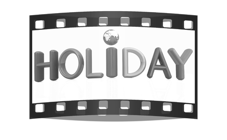 3d colorful text holiday on a white background. The film strip