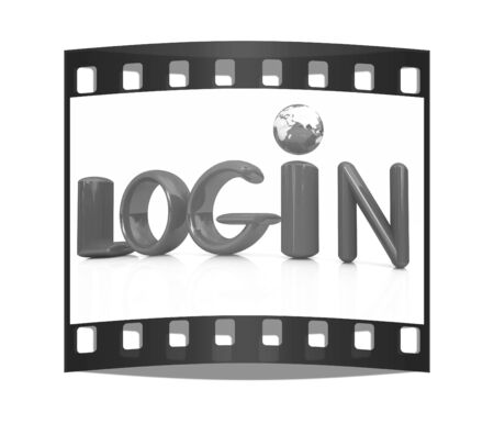 user name: 3d red text login on a white background. The film strip