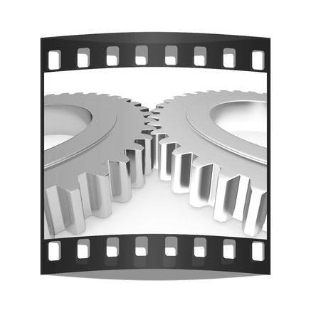 Gear set on a white background. The film strip