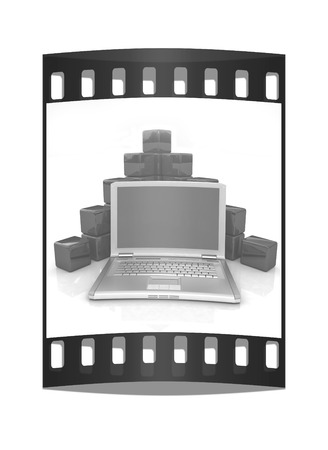 powerbook: Cubic diagram structure and laptop. On a white background. The film strip