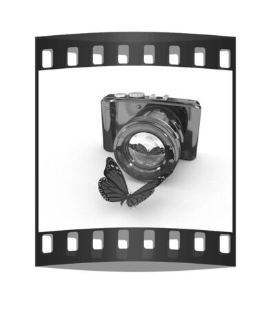 3d illustration of photographic camera and butterfly on white background. The film strip