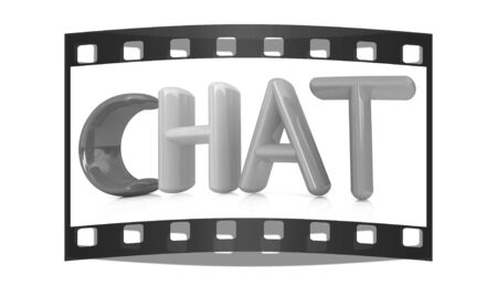 webmater: colorful 3d text chat on a white background. The film strip