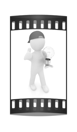 florescent light: 3d man with light bulb on white. The film strip