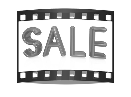 3d illustration of text  sale  on white. The film strip