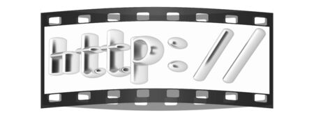 http: 3d illustration internet metal sign http: on a white background. The film strip