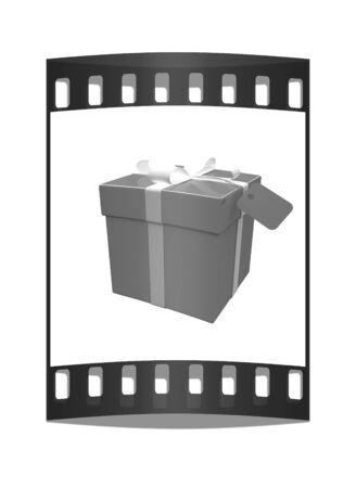 Gift box on a white background. The film strip photo