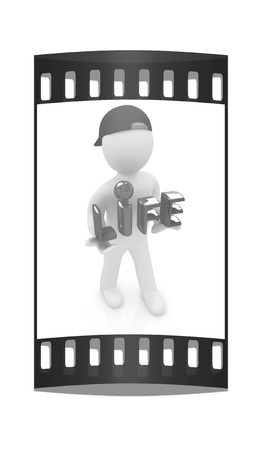 lifesaving: Concept of life-saving with 3d man.3d illustration. The film strip