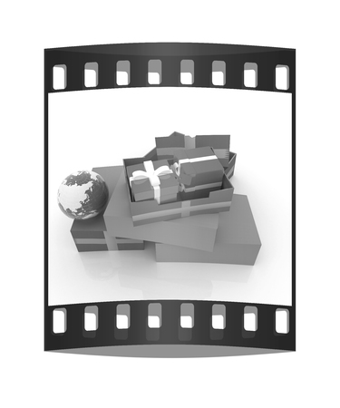 Cardboard boxes, gifts and earth on a white background. The film strip photo