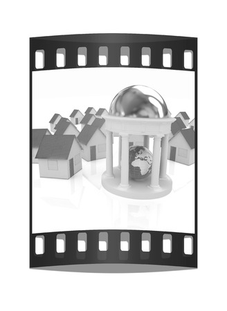 rotunda: Earth in rotunda and houses on a white background. The film strip Stock Photo