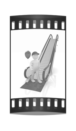 3d man: Escalator and 3d man with balloon on a white background. The film strip