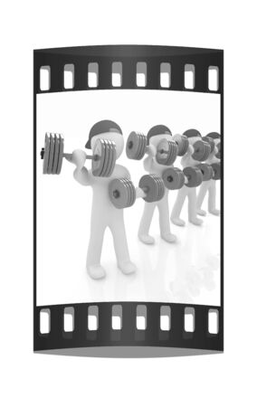 chrome man: 3d mans with colorfull dumbbells on a white background. The film strip