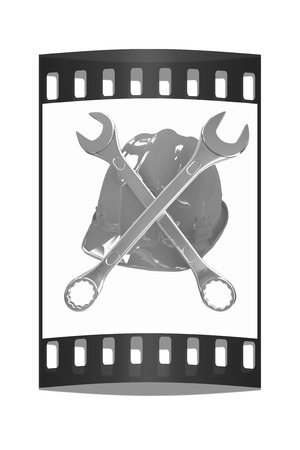 The protective helmet working and crossed wrenches. The image of a skull and bones on a white background. The film strip Reklamní fotografie - 40421634