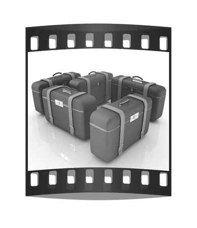 Brown travelers suitcases on a white background. The film strip