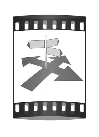 blank road sign: 3D blank road sign on a white background. The film strip Stock Photo