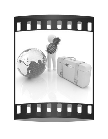 3d man with pineapple,earth and travelers suitcase on a white background. The film strip