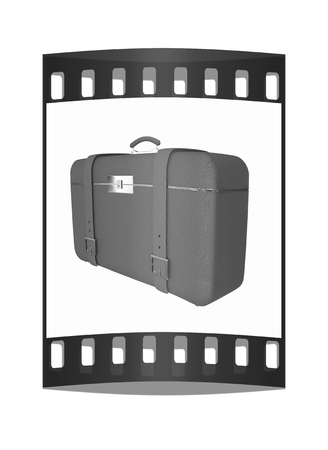 Red travelers suitcase on a white background. The film strip Reklamní fotografie
