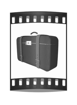 Black travelers suitcase on a white background. The film strip Reklamní fotografie