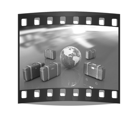 Brown travelers suitcases and earth. Futuristic 3d illustration. The film strip