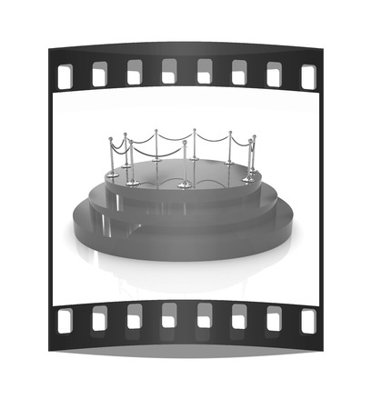 stanchion: 3D glossy podium with gold handrail on a white background. The film strip Stock Photo