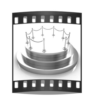 stanchion: Gold podium 3d on a white background. The film strip
