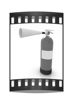 inflammable: Red fire extinguisher on a white background. The film strip Stock Photo