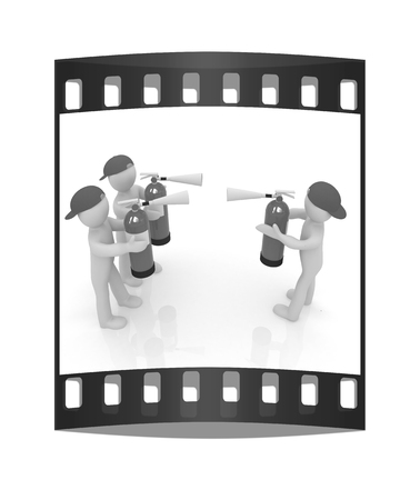 confrontation: 3d mans with red fire extinguisher. The concept of confrontation on a white background. The film strip