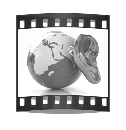 Ear gold 3d on earth render isolated on white background. Global. The film strip photo