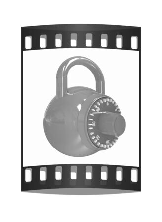 pad lock: Illustration of security concept with glossy locked combination pad lock on a white background. The film strip