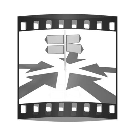 blank road sign: 3D blank road sign and arrows way on a white background. The film strip Stock Photo