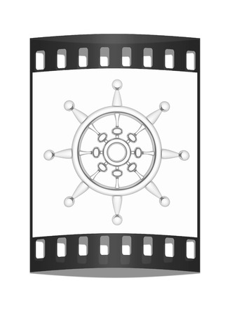mariner: Metal steering wheel on a white background. The film strip