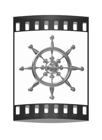 mariner: Gold steering wheel on a white background. The film strip