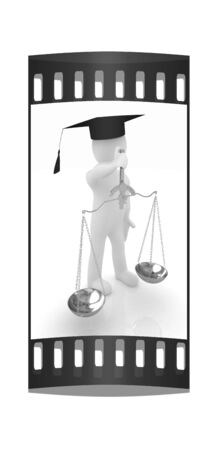 magistrate: 3d man - magistrate with gold scales. Isolated over white. The film strip