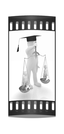 judiciary: 3d man - magistrate with gold scales. Isolated over white. The film strip