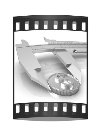 vernier: Vernier calipers with coin isolated over white background. The film strip
