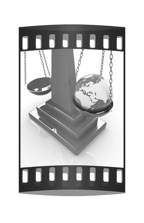 philosophical: The philosophical concept: Earth lighter than vanity on a white background. The film strip Stock Photo