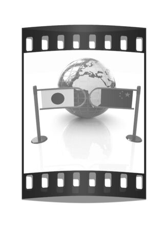 truce: Three-dimensional image of the turnstile and flags of China and Japan on a white background. The film strip