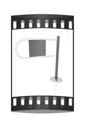 tourniquet: Three-dimensional image of the turnstile on a white background. The film strip