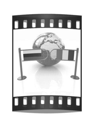 irish sea: Three-dimensional image of the turnstile and flags of Ireland and Russia on a white background. The film strip