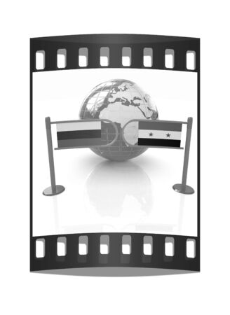 illustrated globes: Three-dimensional image of the turnstile and flags of Russia and Syria on a white background. The film strip