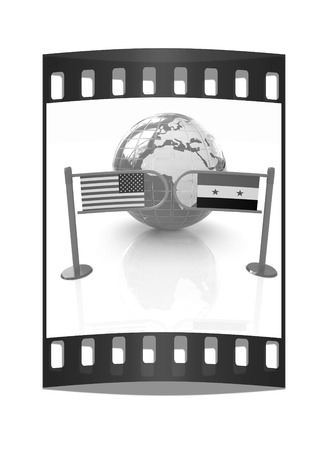 truce: Three-dimensional image of the turnstile and flags of USA and Syria on a white background. The film strip