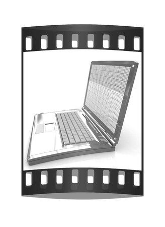 powerbook: Laptop on a white background. The film strip