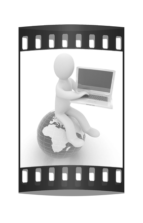 3d man sitting on earth and working at his laptop on a white background. The film strip photo