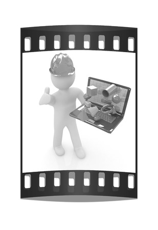 elevation meter: 3D small people - an engineer with the laptop presents 3D capabilities on a white background. The film strip