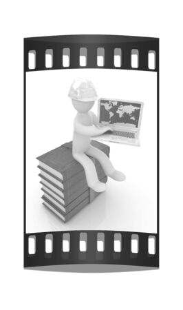 living wisdom: 3d man in hard hat sitting on books and working at his laptop on a white background. The film strip Stock Photo