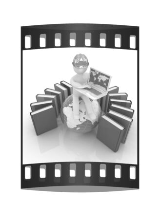 hard working man: 3d man in hard hat sitting on earth and working at his laptop and books around his on a white background. The film strip Stock Photo