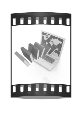 Colorful books flying and laptop on a white background. The film strip photo
